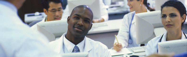 students in a medical classroom